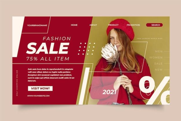 Motyw strony docelowej sprzedaży mody