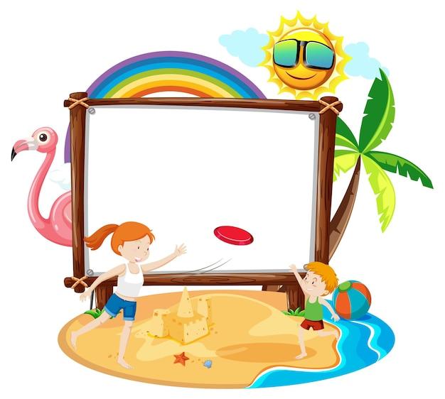 Motyw Summer Beach Z Pustym Banerem Na Białym Tle Darmowych Wektorów