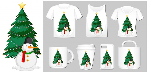 Motyw świąteczny z bałwanem na szablonach produktów