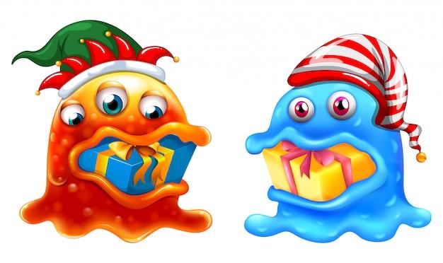 Motyw świąteczny z dwoma potworami i prezentami