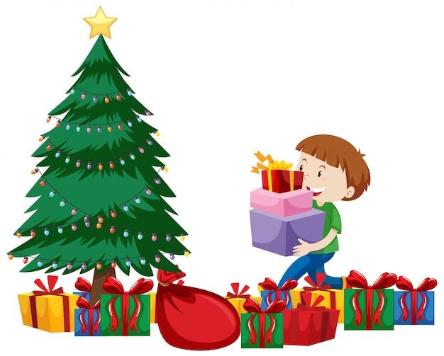 Motyw świąteczny z dzieckiem i wieloma prezentami