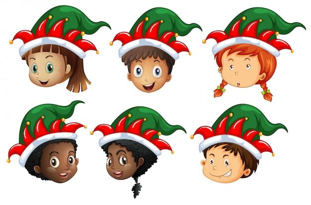 Motyw świąteczny z dziećmi w czapkach elfów