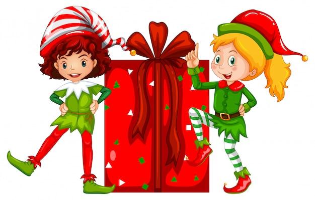Motyw świąteczny z elfem i prezentem