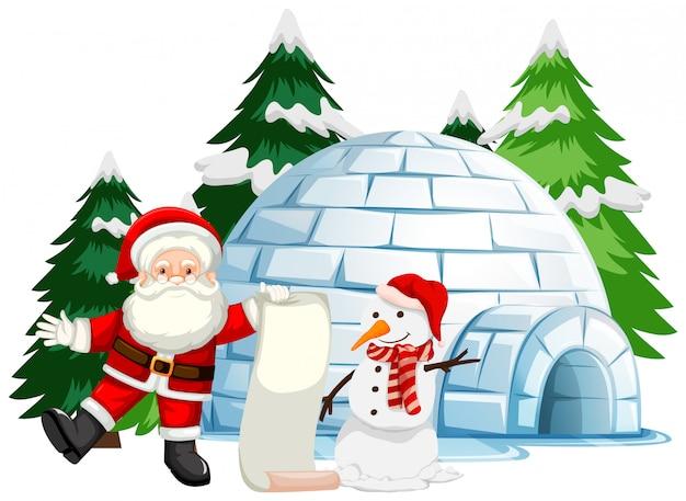 Motyw świąteczny z mikołajem i bałwanem