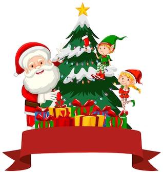 Motyw świąteczny z mikołajem i elfem