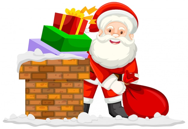Motyw świąteczny z mikołajem i prezentami