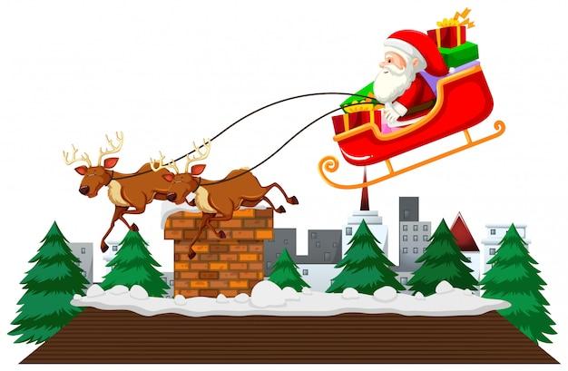 Motyw świąteczny z mikołajem na saniach
