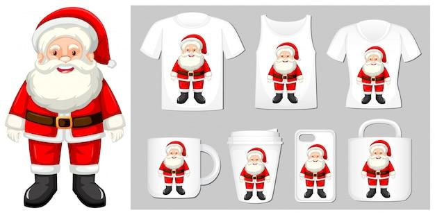 Motyw świąteczny z mikołajem na szablonach produktów