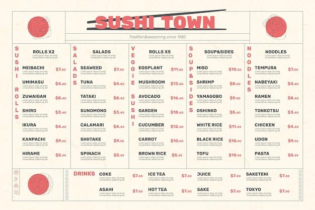 Motyw szablonu menu cyfrowej restauracji