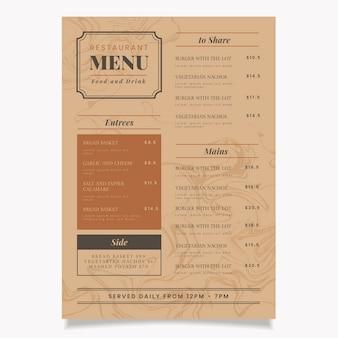 Motyw szablonu menu restauracji marmurowej