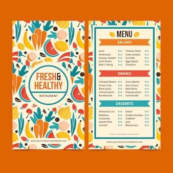 Motyw szablonu menu restauracji zdrowej żywności