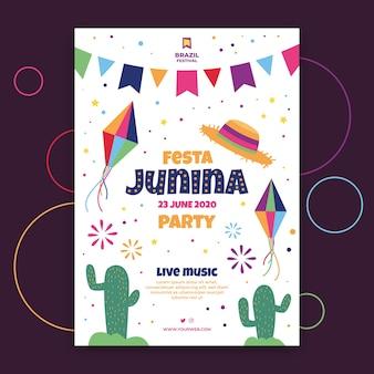 Motyw szablonu ulotki festa junina