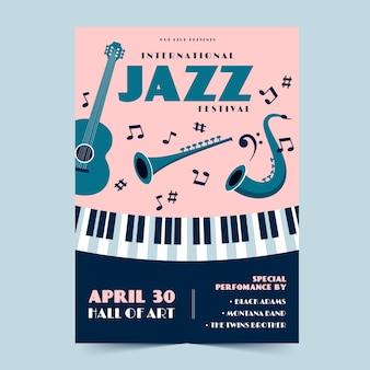 Motyw szablonu ulotki międzynarodowy dzień jazzu