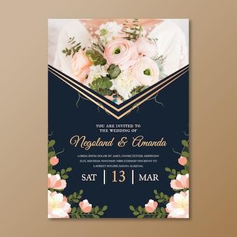 Motyw szablonu zaproszenia ślubne