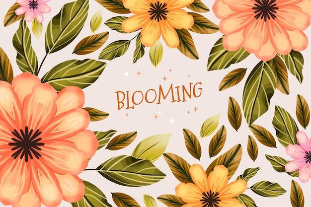Motyw tła wiosna akwarela