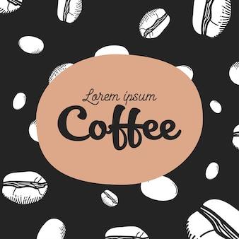 Motyw tła ziaren kawy czarno-białe
