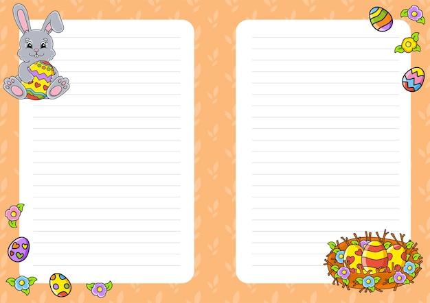 Motyw wielkanocny. szablon arkusza kolorowych notatek.