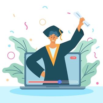 Motyw wirtualnej ceremonii ukończenia szkoły