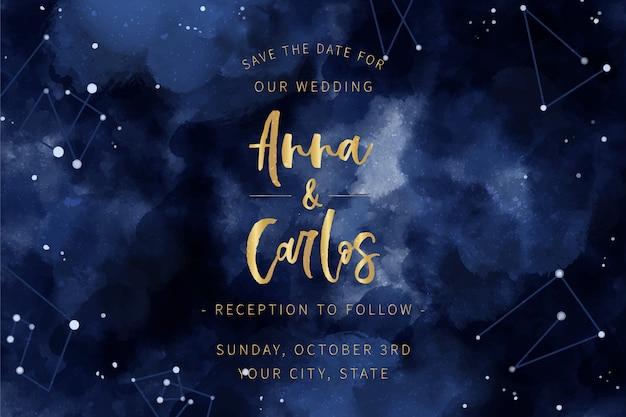 Motyw zaproszenia ślubne akwarela galaktyki