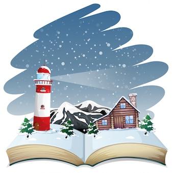 Motyw zimowy z otwartej książki