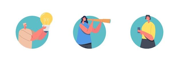 Motyw zmiany i szansy. postacie mają kreatywny pomysł lub wizję biznesową. mężczyzna z ogromną podświetloną żarówką, kobieta wygląda w lunecie, trzymając w ręku smartfon. ilustracja wektorowa kreskówka ludzie