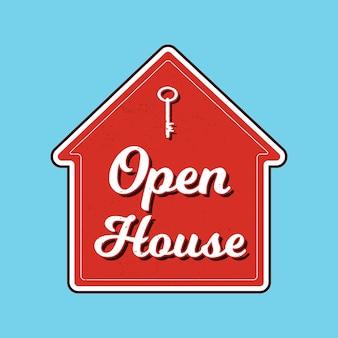Motyw znak etykiety otwarty dom