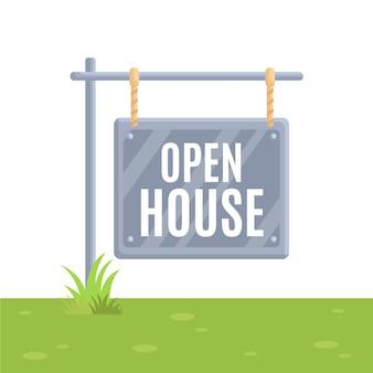 Motyw znak otwarty dom nieruchomości