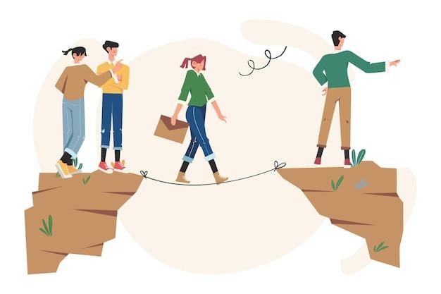 Motywacja biznesowa i ambicja, zespół biznesowy pokonuje przeszkody i osiąga sukces