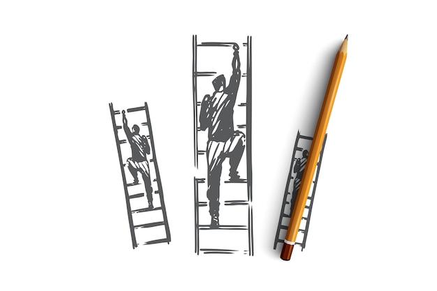 Motywacja, schody, sukces, kariera, koncepcja celu. ręcznie rysowane biznesmen wspina się na szkic koncepcji schodów.