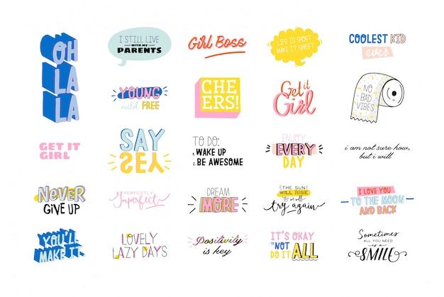 Motywacyjna typografia zestaw fajnych cytatów. na białym tle. modny i uroczy napis.