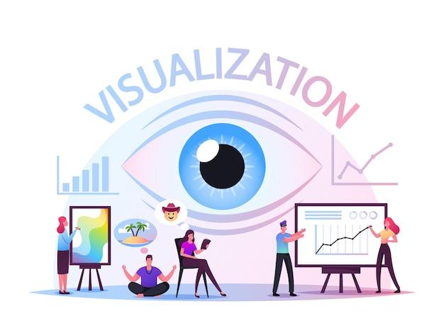 Motywacyjna wizualizacja celu, aby życzenia się spełniły. postacie wierzą, że zachowanie podąża za koncepcją marzeń. pewność przyszłości i optymistyczne, inspirujące myślenie. ilustracja wektorowa kreskówka ludzie