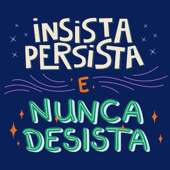 Motywacyjne ilustracje w brazylijskim portugalskim tłumaczeniu nalegaj i nigdy się nie poddawaj