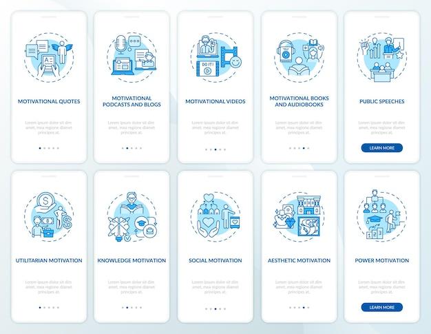 Motywacyjne treści wprowadzające na ekran strony aplikacji mobilnej z ustawionymi koncepcjami. motywowanie do działań. 5 kroków instrukcji graficznych. szablon ui z kolorowymi ilustracjami rgb