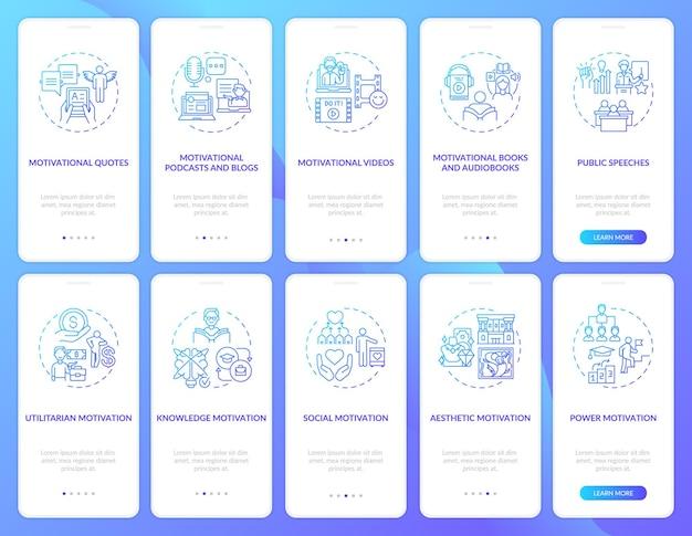 Motywacyjne treści wprowadzające na ekran strony aplikacji mobilnej z ustawionymi koncepcjami
