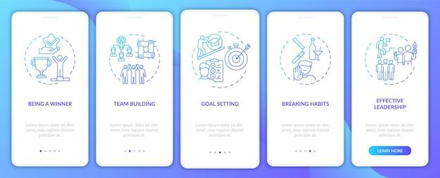 Motywacyjne typy treści wprowadzające ekran strony aplikacji mobilnej z koncepcjami