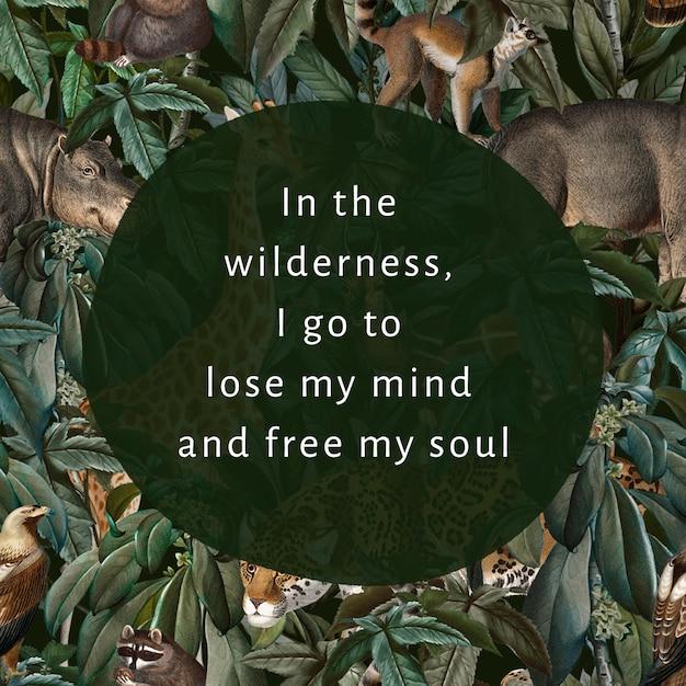 Motywacyjny cytat edytowalny szablon wektor ilustracja dzikiej przyrody dla postu w mediach społecznościowych