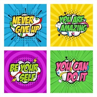 Motywacyjny cytat kolekcja pop-artu