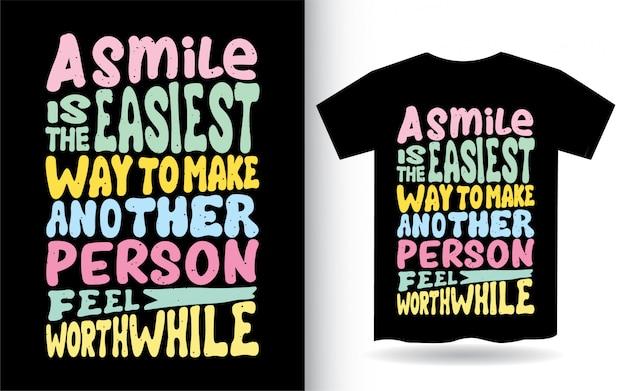 Motywacyjny cytat na temat projektu napisu uśmiech na koszulkę