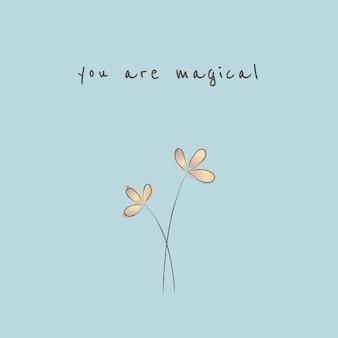 Motywacyjny cytat z doodle rośliną do postu w mediach społecznościowych