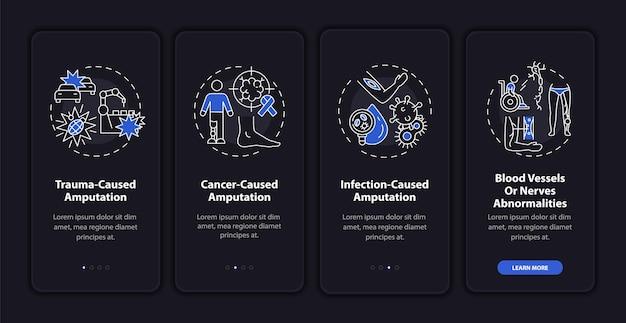 Motywy amputacji na ekranie strony aplikacji mobilnej z koncepcjami