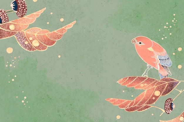 Motywy papugi i liści na szmaragdowym tle
