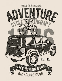 Mountain bikers adventure ilustracyjny projekt