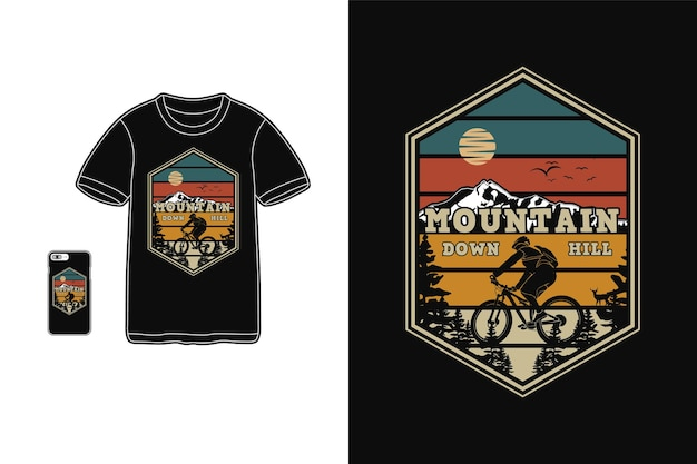 Mountain downhill, przygoda t shirt design sylwetka w stylu retro