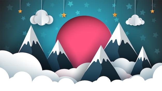 Mountain papieru ilustracji. czerwone słońce, chmura, gwiazda, niebo.