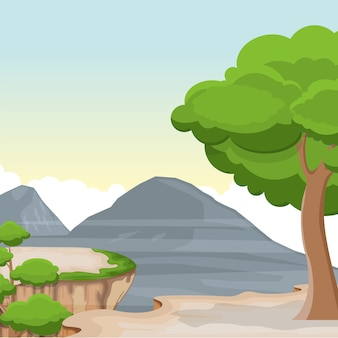 Mountain valley cliff tree nature landscape vector illustration