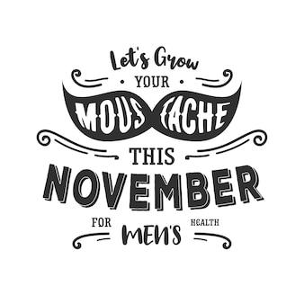 Moustahe movember lettering