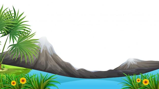 Moutain i jezioro na pierwszym planie