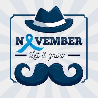 Movember i wąsy ze wstążką