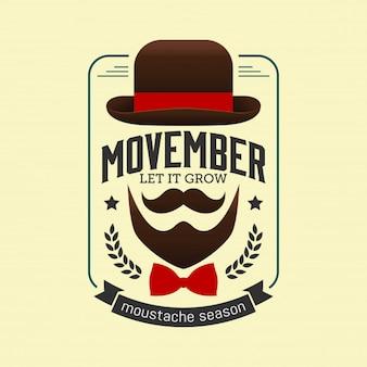 Movember miesiąc świadomości raka prostaty. Wąsy i niebieską wstążką tło