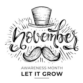 Movember napis wąsy